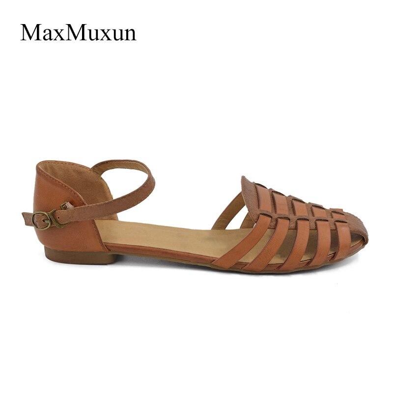 MaxMuxun Wanita Slingback Sandal Musim Panas Roma Ankle Strap Ditutup - Sepatu Wanita - Foto 3