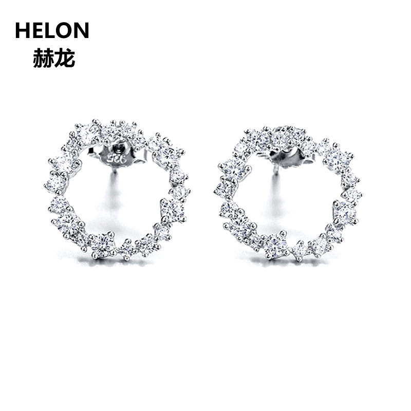 925 Sterling Silver Stud Earrings for women Classic Circle Earrings Lab Diamonds 12MM Round Halo Cubic Zirconia CZ Girls-in Earrings from Jewelry  Accessories on Aliexpresscom  Alibaba Group