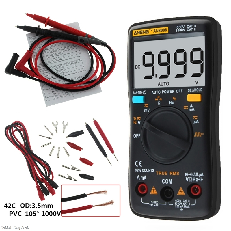 где купить AN8008 True RMS LCD Digital Multimeter Voltmeter Ammeter Voltage Current Black дешево