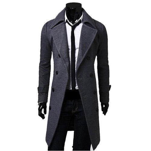 Venta caliente mens casual doble capa de foso de breasted slim fit chaqueta de invierno abrigo envío gratis CF23