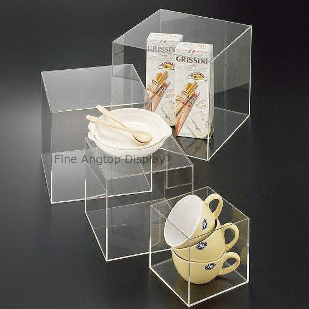 цена на 5 Sided Acrylic Cube Pedestal Art Sculpture Stand Jewelry Display
