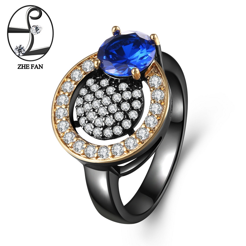 ZHE FAN Deep Blue AAA Cubic Zirconia Ring Round Pineapple Black Gold Color 2 Tone Plating Rings For Women Party Gift Size 6-9 brief plus size buttoned horizontal line pineapple embellished shirt for women
