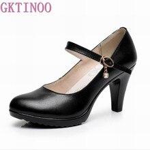 d160552b2 GKTINOO mulher Bombas 2019 das Mulheres sapatos de plataforma de couro  genuíno sexy de salto alto