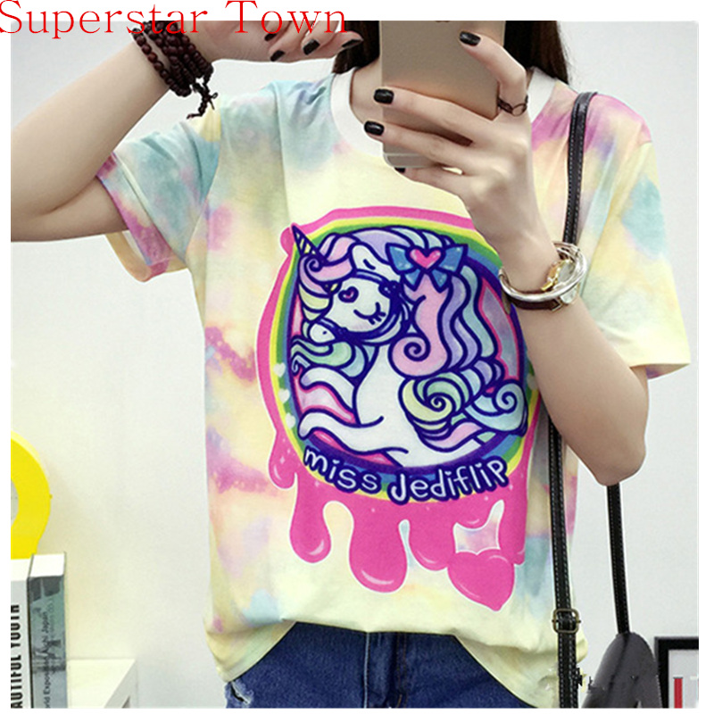 2016 Harajuku Honey Girls Kawaii T shirt Unicorn Casual Tops Lolipop Sweet Tee Blusa Summer Camisa Anime Feminina Adorable