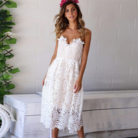 DeRuiLaDy Deep V Neck Backless White Lace Dress Summer Dresses Women Sundress Sexy Hollow Out Party