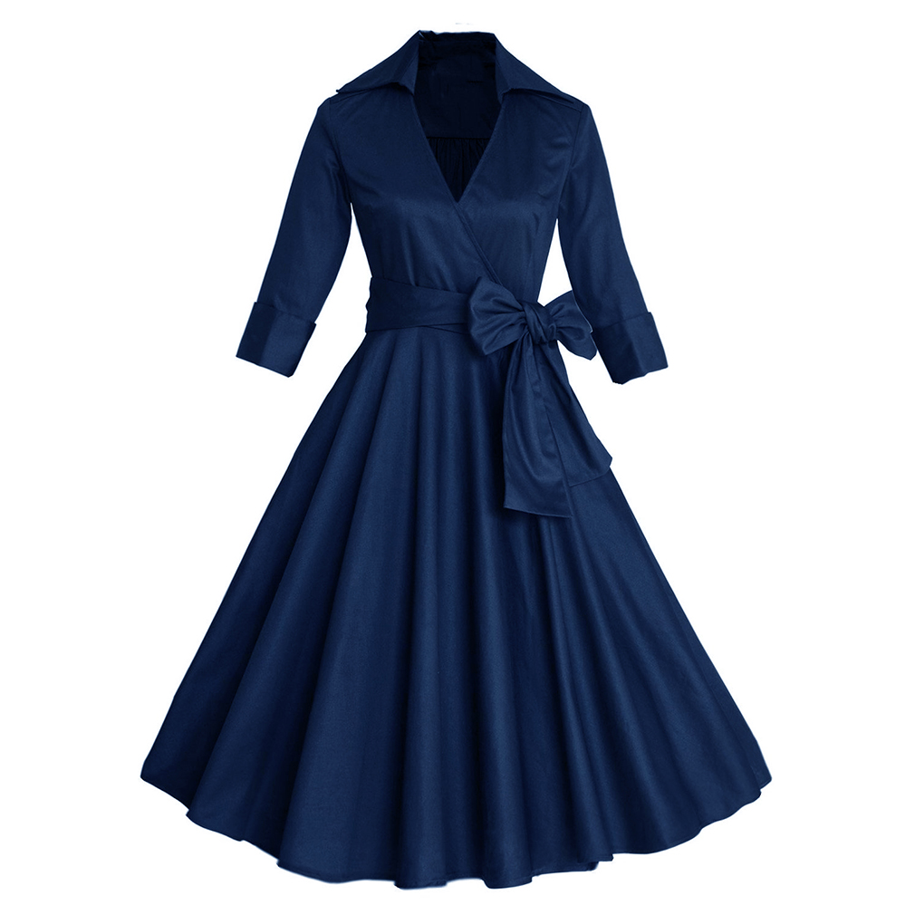 2017 női szexi őszi ruha, elegáns Audrey Hepburn félig ujjú, - Női ruházat