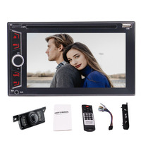 Audio Double Din Bluetooth DVD/CD/MP3/USB/SD AM/FM Car Stereo 6.2'' Wireless Remote+rear view camera(2018 Brand New Version)
