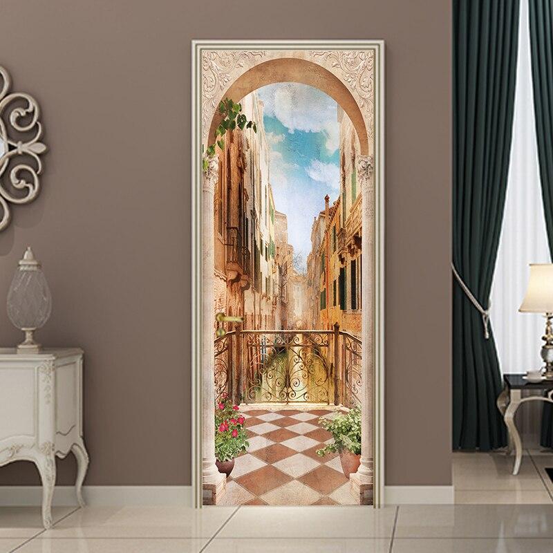 77*200cm 3D DIY Balcony Roman Column Door Sticker Wallpaper Mural PVC Waterproof Bedroom Living Room Poster Home Decoration