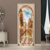 77*200cm DIY Balcony Roman Column Door Sticker Wallpaper Mural PVC Waterproof Bedroom Living Room Poster Home Decoration