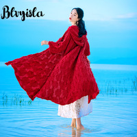 Blvyisla Solid Red Gothic Capes Ponchos Long cloak Jackets Open Overcoat Waterfall Cardigan Personal Female
