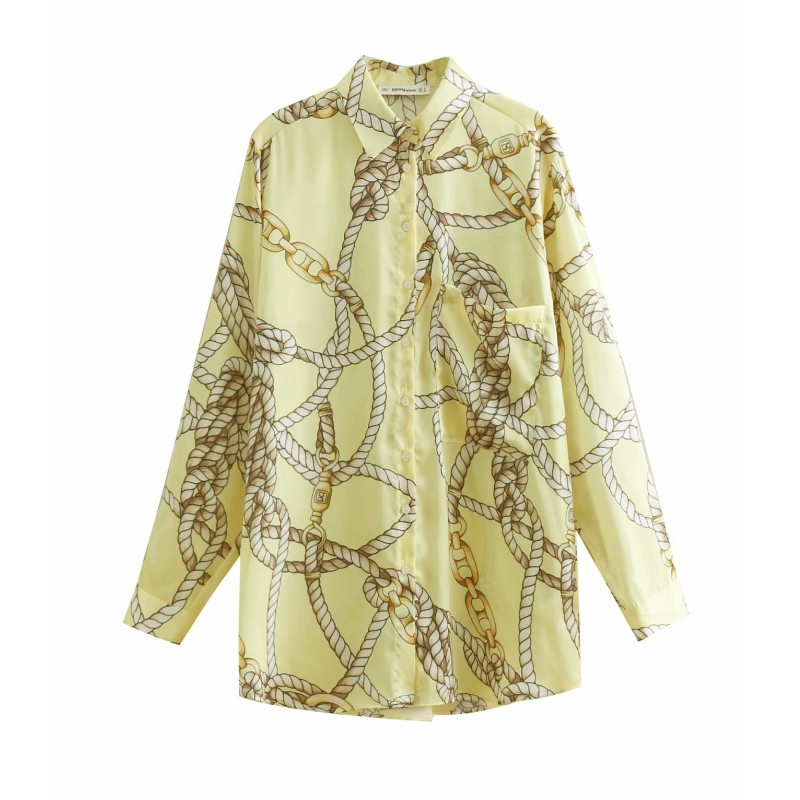 new women fashion knotted print casual yellow smock blouse shirts women pocket business chemise chic blusas feminina tops