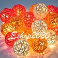 Thailand 5m 20 Rattan LED String Lights Sepak Takraw Lights Garlands For Hotels Fence Beach Wedding Christmas Party Decorations
