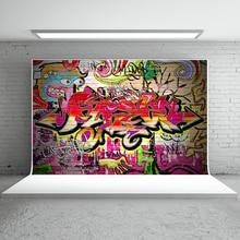 Kate Graffiti Parede Fundos Para Estúdio de Fotografia Fotografia Backdrops 10x10ft 90S' Hip POP Lavável Bebê Chuveiro Cenário