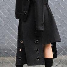 LANMREM, новинка, индивидуальная Асимметричная Женская юбка на завязках, модная, уникальная, Лидер продаж, ассиметричная, Весенняя юбка, BC961
