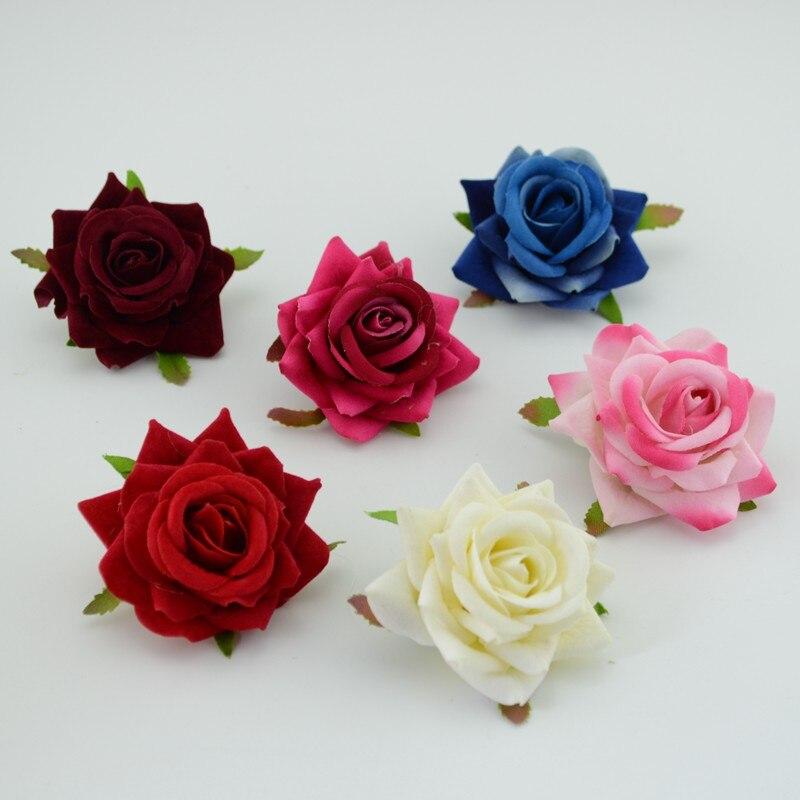 6e978d797622 Artificielle Rose Fleurs 10 pcs lot Pas Cher 6 cm Pour Voiture De Mariage  Décoratif de mariage Rose Scrapbooking Artisanat Flores simulation fleur