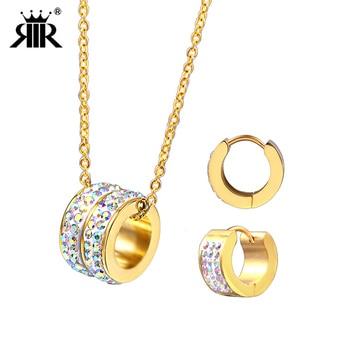 6485884f1b96 RIR último bailarín de Ballet diamantes de imitación de oro conjuntos de  joyas de acero inoxidable Collar para mujer joyería y más