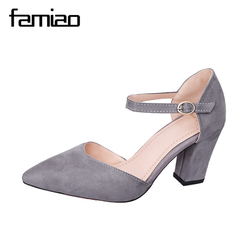 FAMIAO  Thick Heel Pumps Comfortable Shoes Woman Platform Shoes 2017 High Heels Newest Women Pumps Summer Women pumps baoyafang white red tassels women wedding shoes bride 12cm 14cm high heels platform shoes woman high pumps female shoes