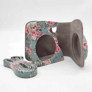 Image 2 - Capa de couro pu flor para câmera, para fujifilm instax mini 9 8 plus, filme instantâneo com acessórios de bolso e correia