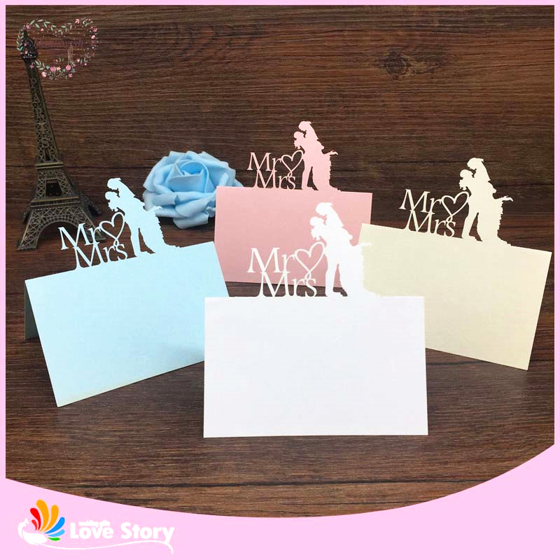 Bhl 40pcs bride and groom laser cut wedding table place for Design table name cards