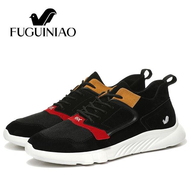 Đến new! Fuguiniao mùa thu người đàn ông giản dị giày/da thật/thoáng khí và ánh sáng của nam giới giày phẳng/màu đen