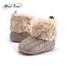 Mother Kids Baby Shoes First walkers Unisex Winter Warm For Infant Soft Knitted Thinken Faux Fur Walker