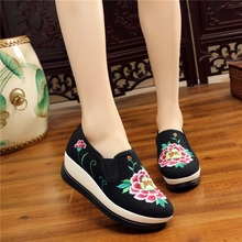 Height Increasing Women Walking Shoes PU Sole Material Slip-on And Colorful Clothing Female Walking Shoes