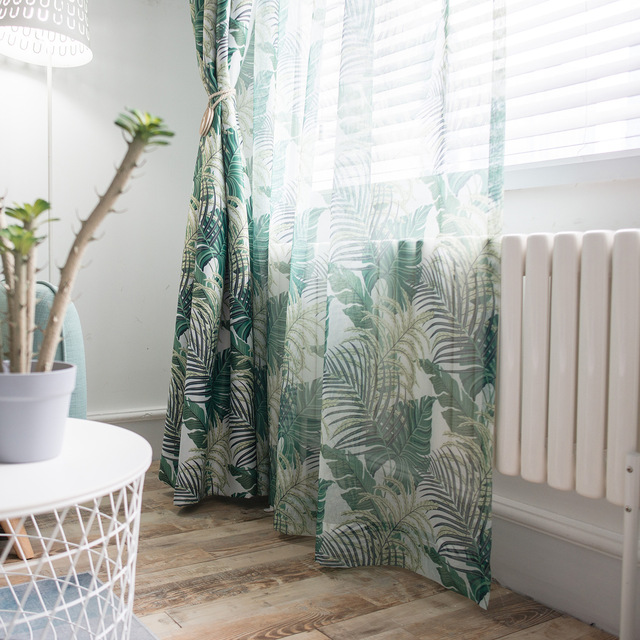 Slow Soul Green Red Oxygen Curtain Modern European French Window Leaves Curtains For Living Room Bedroom Sheer Ready Made