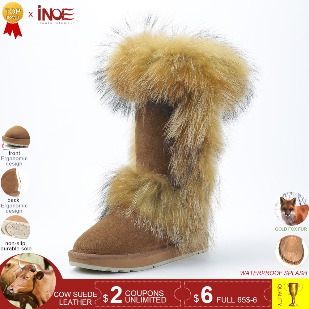 INOE real fox fur cow suede leather winter snow boots for women winter  shoes tall boots high quality 34-44 non-slip rubble sole a1a373f514