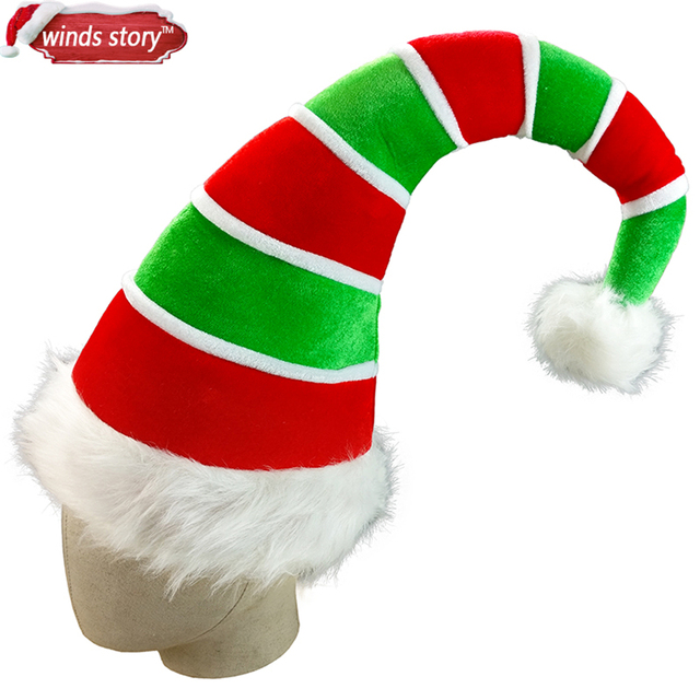 806454e82b98c 1Pieces Adult three-dimensional Long Elf Hat Santa Claus Red   Green  Costume Accessory Adult Christmas Decoration Xmas Hat Decor