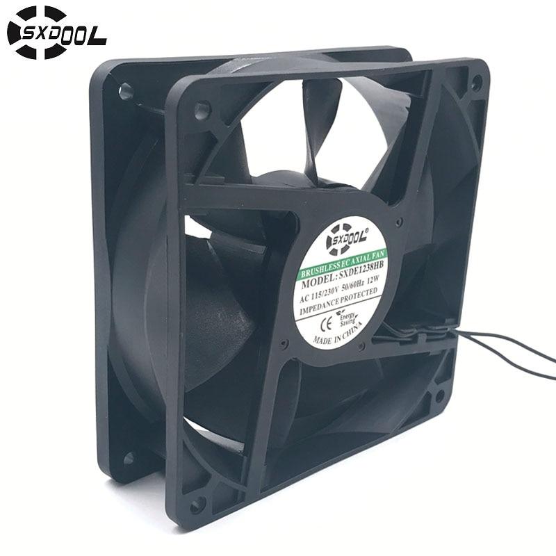 Вентилятор охлаждения двигателя Ec 220 В 110 в 230 В 115 в SXDOOL SXDE12038HB 120 мм 12038 12 В 3500 об/мин 147.6CFM осевой охладитель