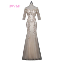 Champagne 2018 Mother Of The Bride Dresses Mermaid Half Sleeves Crystals Groom Mother Dresses Long Evening Dresses For Weddings
