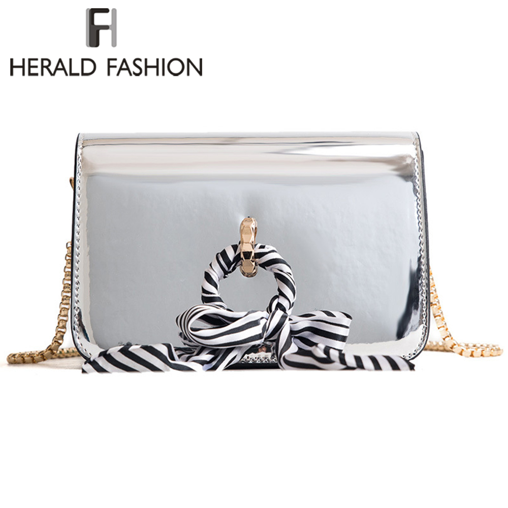 Herald Fashion Women Messenger Bag With Scarf Quality Leather Chain Strap Female Shoulder Bag Solid Ladies Crossbody Bags