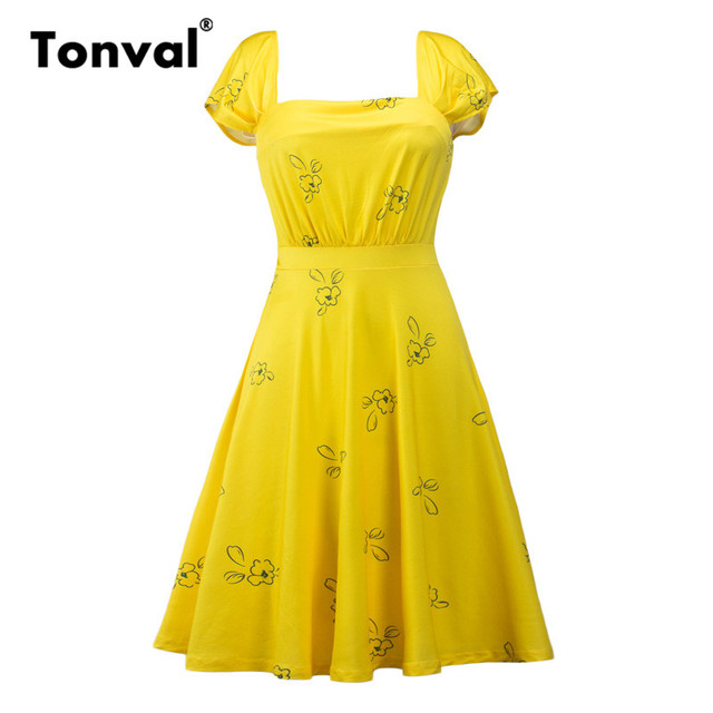c02264626c Tonval Vintage Print Yellow Dress Casual Summer Women Short Sleeve Swing  Dresses Square Collar Sexy Backless Elegant Dress