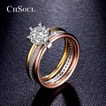 CHSOUL Fashion Women Ring Jewelry 7mm 1.25ct CZ Diamond Colorful 6 Prong Setting Zirconia 3 pcs Band Rings