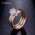 CHSOUL Fashion Women Ring Jewelry 7mm 1.25ct CZ Diamond Colorful 6 Prong Setting Zirconia 3 pcs Band Rings