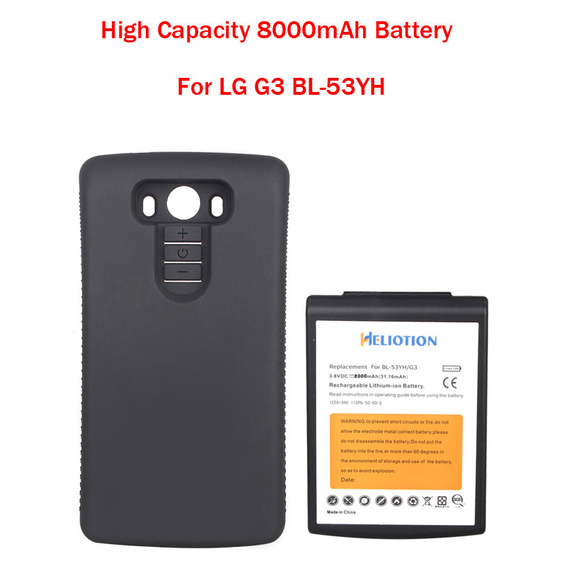 Brand New High Capacity 8000mAh Replacement Extended Battery With Black Protective Case For LG G3 BL