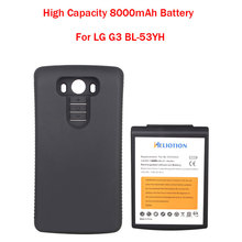 Brand New High Capacity 8000mAh Replacement Extended Battery With Black Protective Case For LG G3 BL-53YH Hot Sale