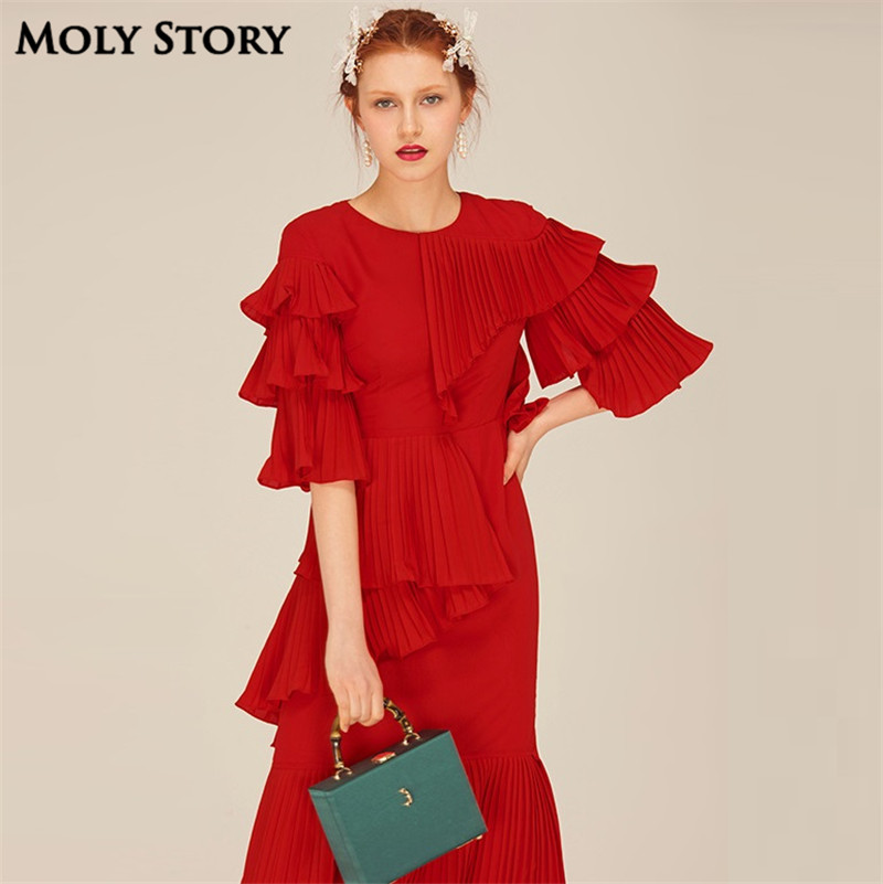 Super! Elegant Silk Red Pleated Dresses Cute Ruffle Long Dress Slim - Women's Clothing - Photo 1