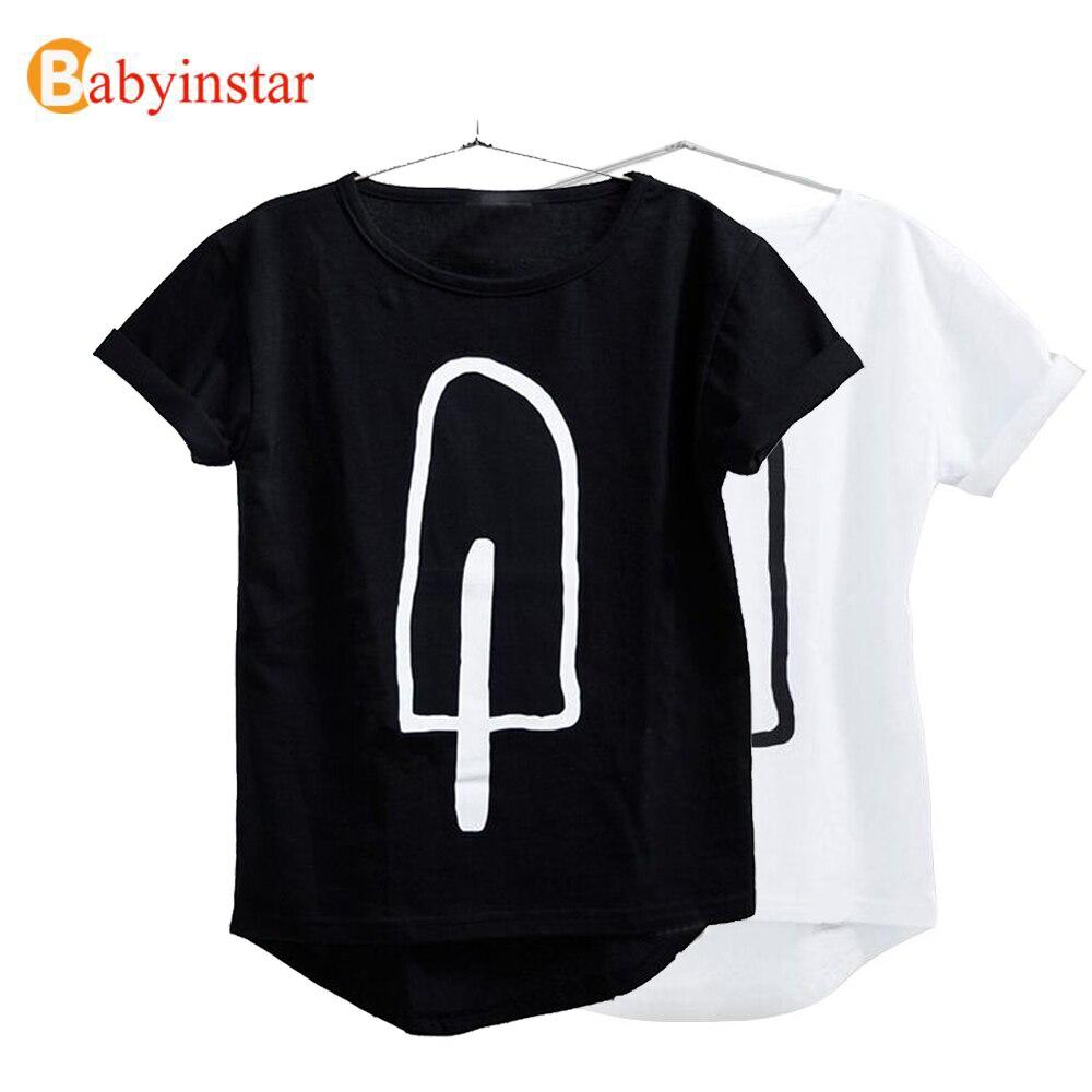Babyinstar estilo de verano de niños ropa de niños 2018 nuevo chico traje bebé helado patrón Casual chica camisetas y Tops Niño camisetas de