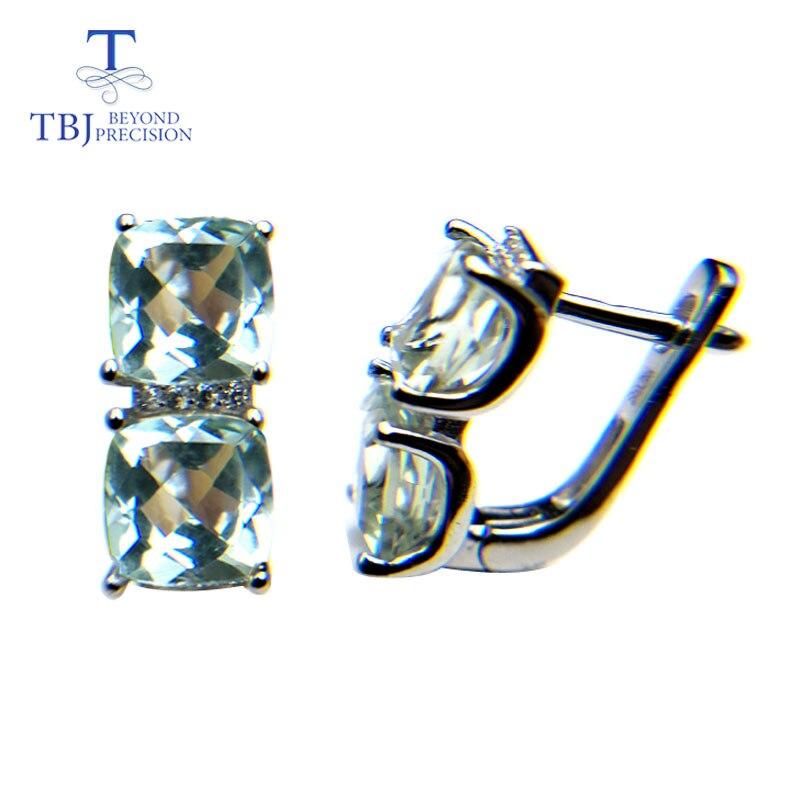 TBJ, najnowszy zapięcie kolczyki 925 sterling silver z naturalnych zielony ametyst poduszka cut 6ct biżuteria z prawdziwego kamienia miły prezent w Kolczyki od Biżuteria i akcesoria na  Grupa 1