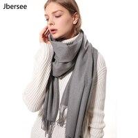 Luxury Brand Cashmere Scarf Women Solid Winter Thick Wool Pashmina Shawl Fashion Tassel Shawls And Wraps