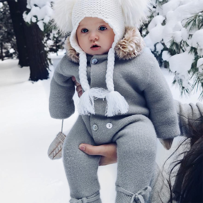 Luxury Baby Knitted Rabbit Fur jumpsuit Cotton Plaid Playsuit Autumn Spring Winter boys girls Tiny Cottons Overall Infant Onesie