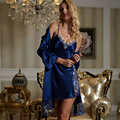 Bule Lace Twinset Robe Sets Women Imitation Silk Sleepwear Sexy V-Neck Nightgowns Femininos Lace Embroidery Nightwear 20243