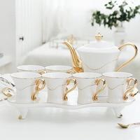 Европейский Стиль Золото гостиная чашки набор высокого класса чашка кофе чайный сервиз чашка бытовой чашки воды набор с лоток wx9121939