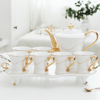 European style gold living room cup set High end coffee cup tea set cup Household water cup set with tray wx9121939