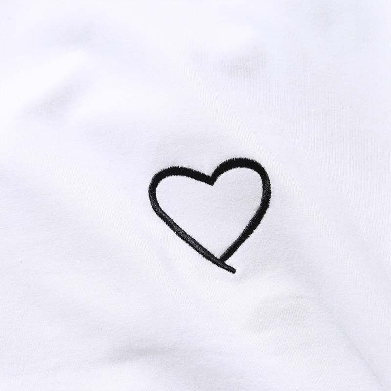 Summer Couples Lovers T-Shirt For Women Men Casual White Tops Tshirt Women T Shirt Love Heart Embroidery Print T-Shirt Female