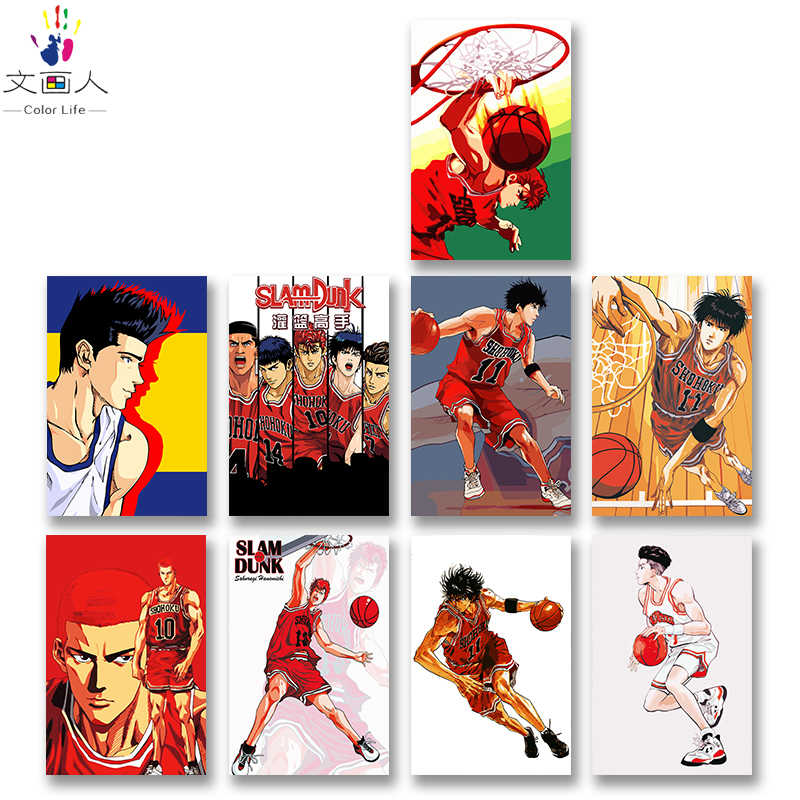 DIY colorings pictures by numbers with colors Slam dunk Men and children picture drawing painting by numbers framed Home