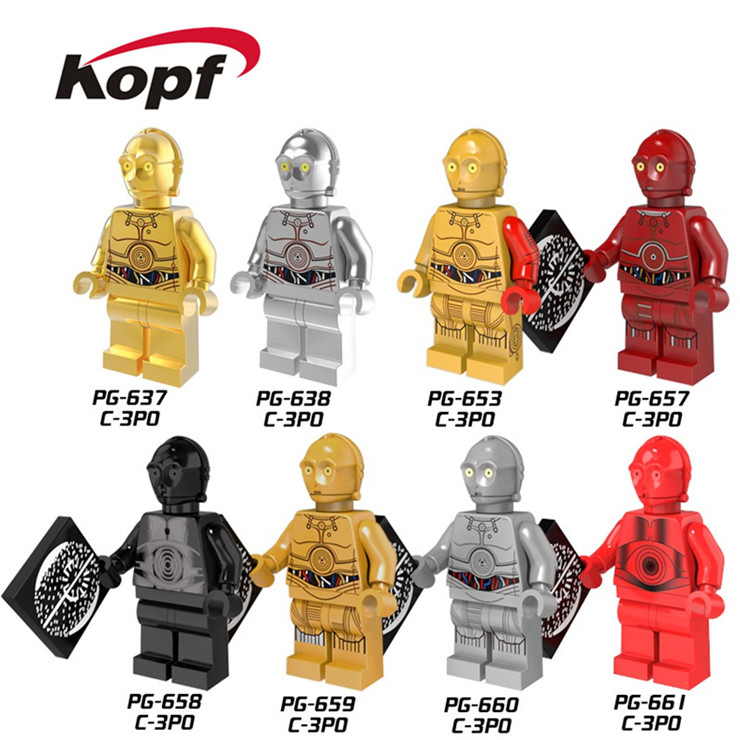 Single Sale Super Heroes New Comics Star Wars Protocol Droid C3PO C-3PO Bricks Action Building Blocks Toys for children PG8023 single sale super heroes nya gamma master wu gnea pythor kozu zane ninja 71019 building blocks bricks toys for children pg8070