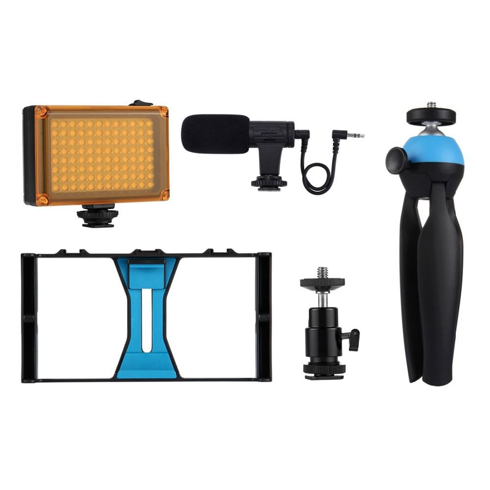 Image 5 - PULUZ Smartphone Video Rig   LED Studio Light   Video Microphone    Mini Tripod Mount Kits with Cold Shoe Tripod Head for iPhonPhoto  Studio Accessories