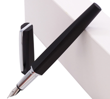 KACO SQUARE Luxury Aluminum Four Sides Matte Black Fountain Pen with Iron Box, Schmidt Converter & Fine Nib 0.5mm Gift Set